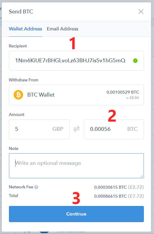 Sending Bitcoins from Coinbase
